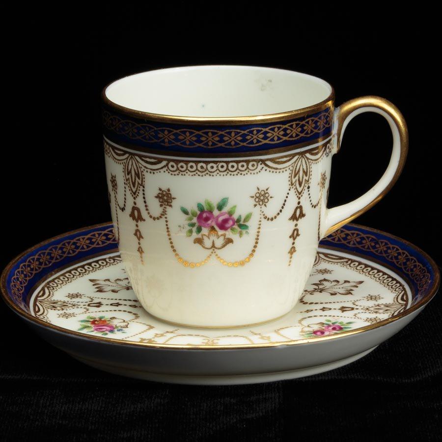 Cauldon コールドン ピンクの薔薇とコバルトブルーの帯 デミタス 1920〜1930年頃
