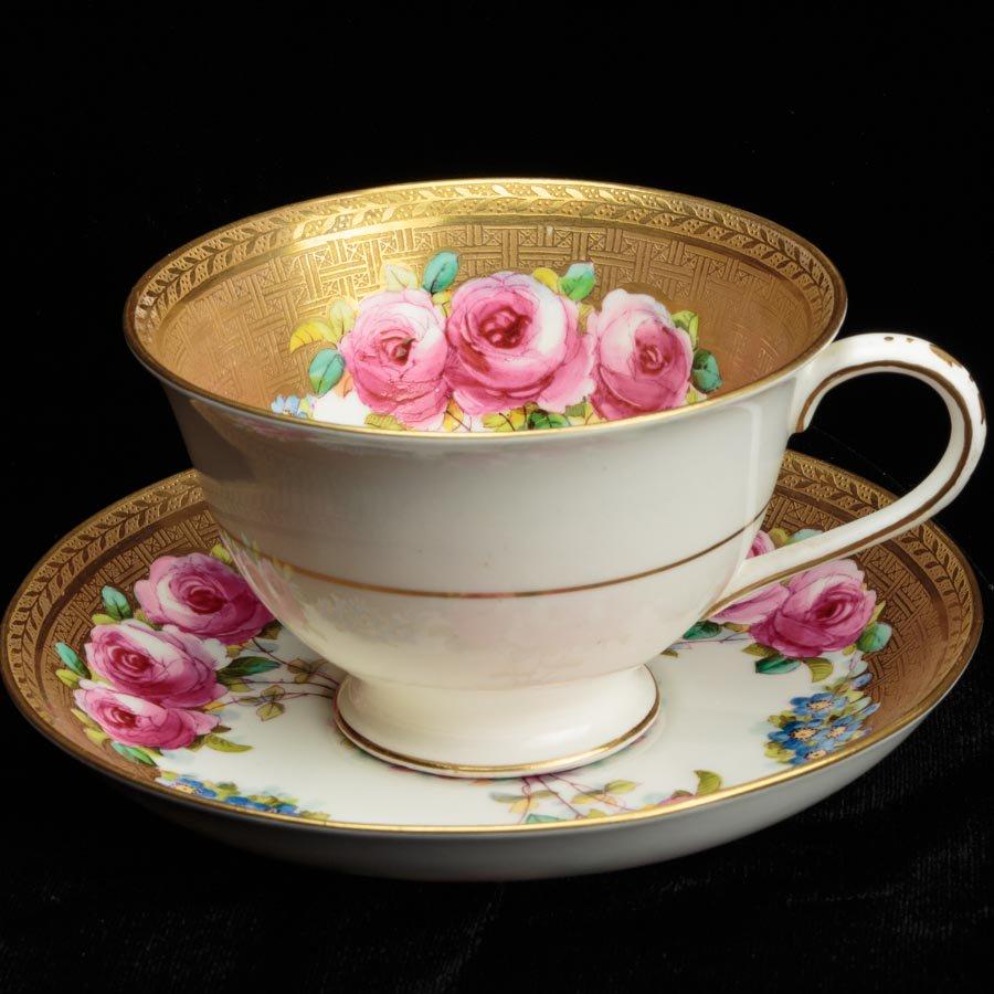 Thomas Morris ピンクの薔薇と青い勿忘草 金の網代模様のカップ&ソーサー