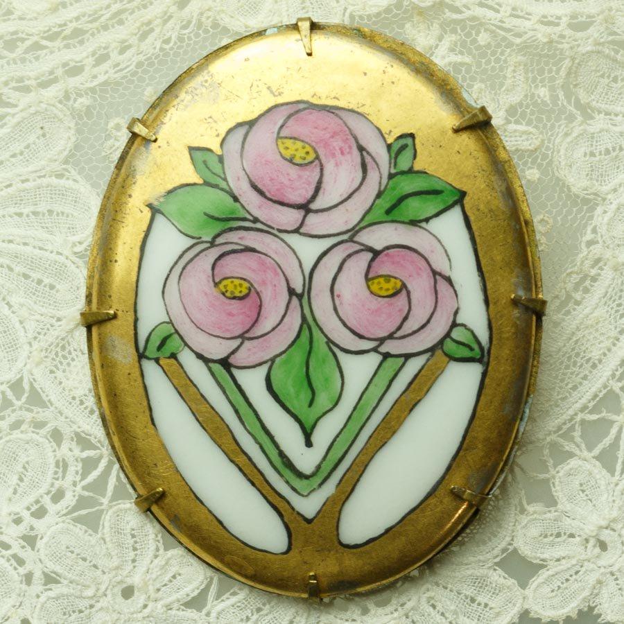 アールデコの薔薇 アンティーク手書きブローチ 1920年頃