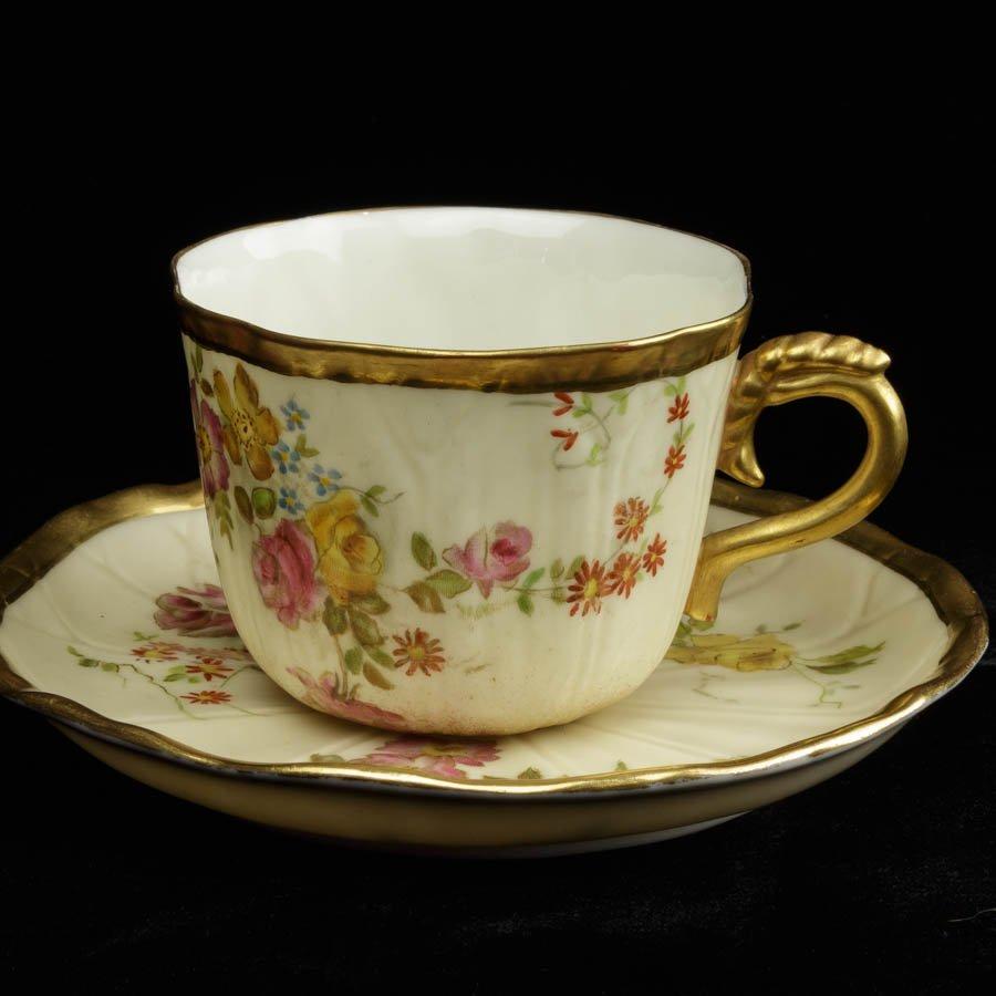 ロイヤルウースター Royal Worcester 1895〜1896年 草花のカップ&ソーサーB