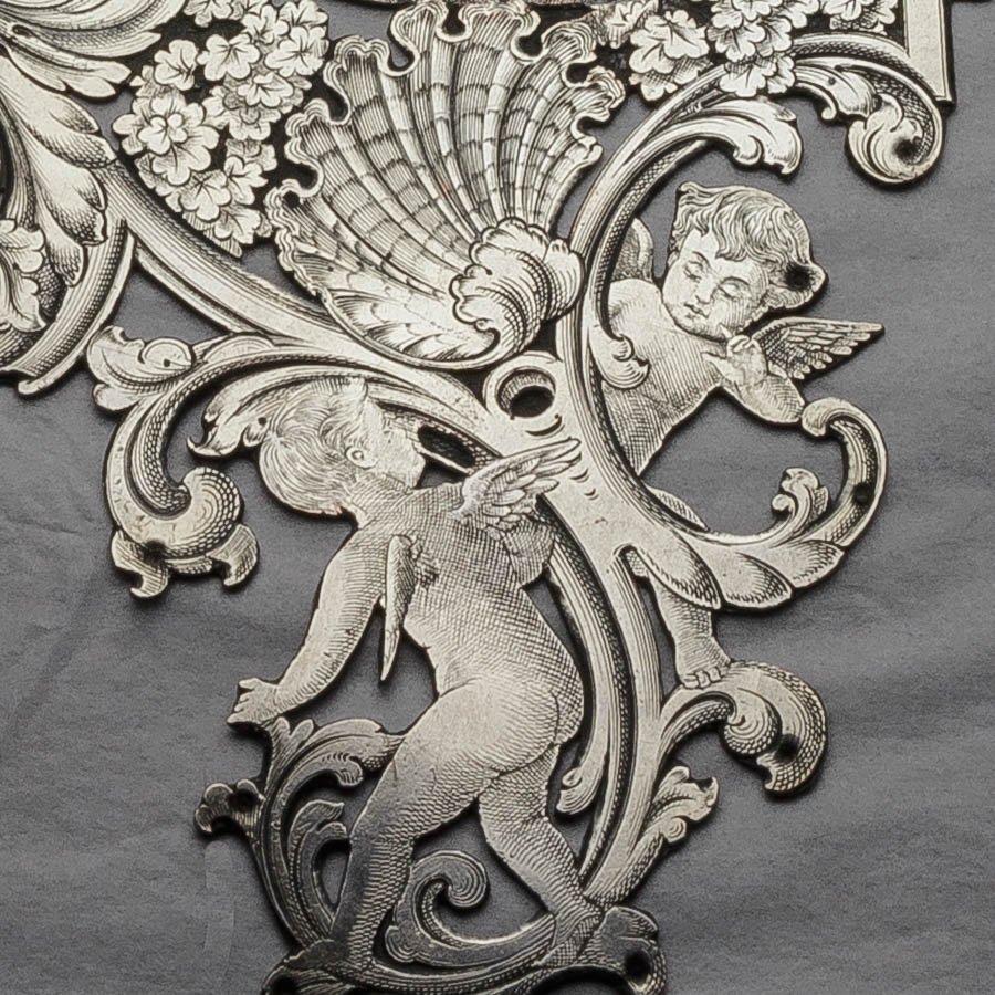 フランスアンティーク シルバープレート 18世紀サロンシーン チェンバロ 天使 壁飾り