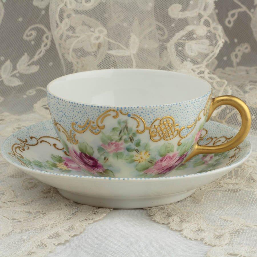 リモージュ GDM ハンドペイント 薔薇とマーガレット 爽やかなブルージュエルのカップ&ソーサー 1901