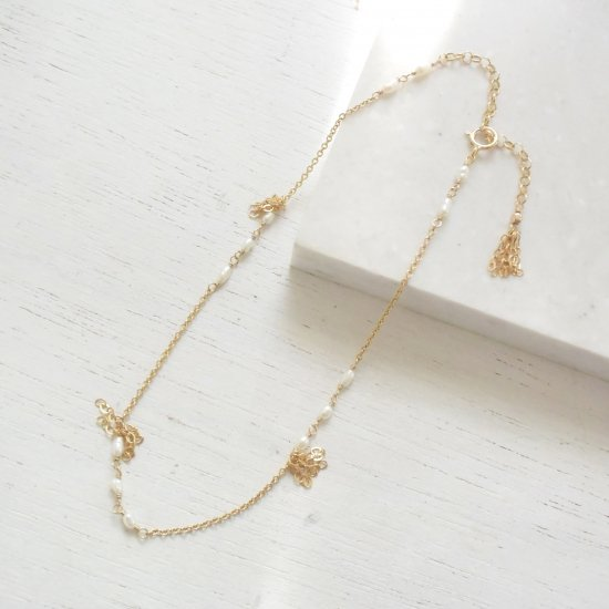 〈14KGF-A-8〉Anklet/White pearl