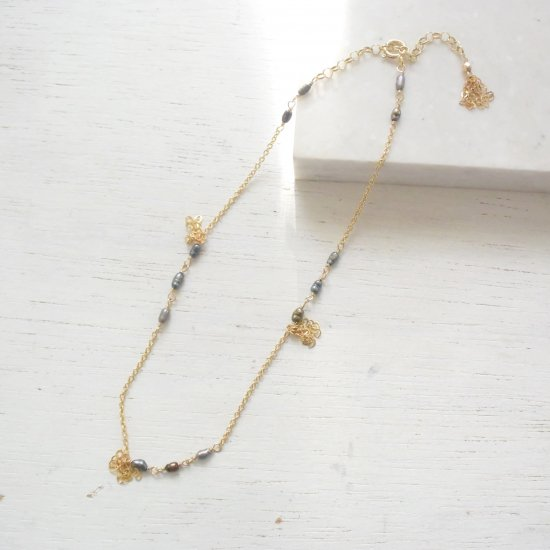 〈14KGF-A-8〉Anklet/Tahitian color pearl