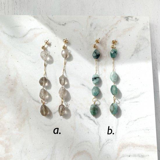 〈14KGF-P〉Smoky quartz or Emerald