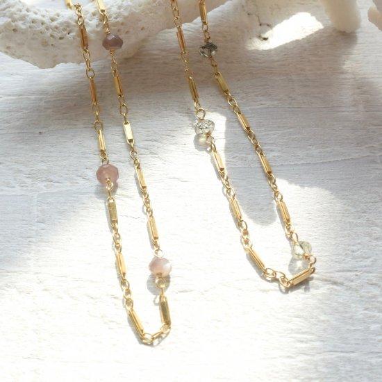 〈14KGF-Necklace〉Rutile quartz or Brown moonstone
