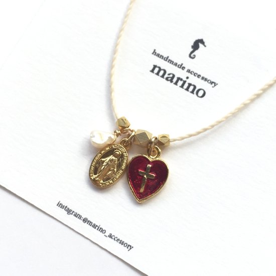 Medal & Cross Necklace - Red Heart-
