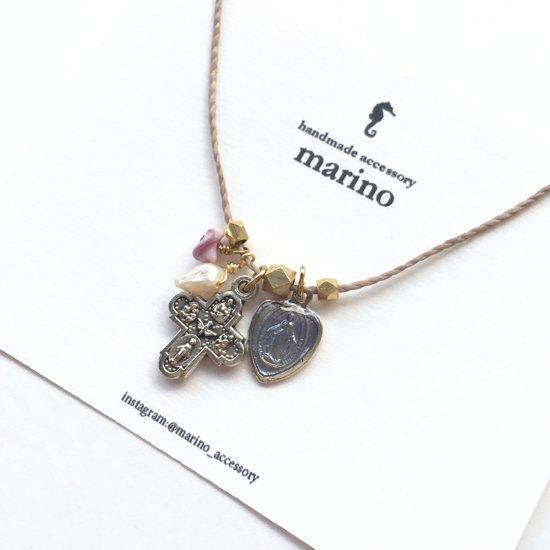 Medal & Cross Necklace - Purple heart medal-