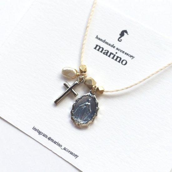 Medal & Cross Necklace - Purple medal-