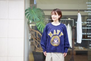 MAISON EUREKA(メゾンエウレカ)Vintage Rework Sweat 2Tuck/Navy College Logo/Navy