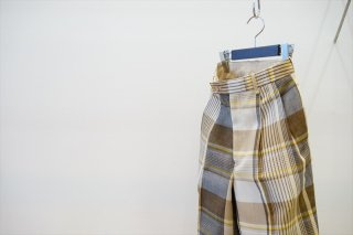 AURALEE for women(オーラリー) HARD TWIST ORGANIC WOOL MESH CHECK SLACKS/BEIGE MADRAS CHECK