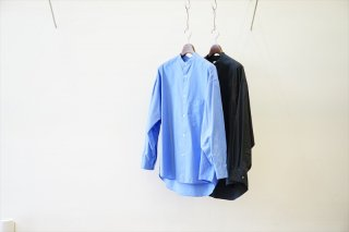 Graphpaper for women's(グラフペーパーウィメンズ)Broad Oversized L/S Band Collar/Blue/Black