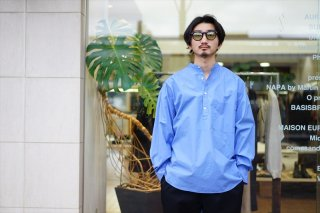 Graphpaper(グラフペーパー)Broad Oversized Band Collar Pullover Shirt/White/Blue/Navy/Black/