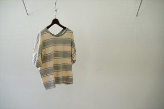 UNUSED for women(アンユーズドウィメンズ)2way Border Wide T-shirt/Gray×Beige