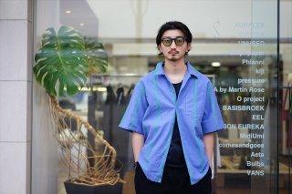 UNUSED(アンユーズド)Stripe Short Sleeve Shirt/Blue