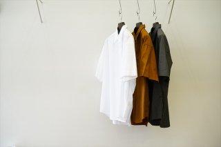Graphpaper(グラフペーパー)Broad Oversized S/S Regular Collar Shirt/White/Brown/C.Gray