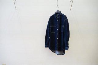 Graphpaper(グラフペーパー)Denim Regular Collar Shirt/INDIGO (GM213-50077B)