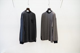 Graphpaper(グラフペーパー)Wool Border L/S Pocket Tee/BLK×WHT/BLK×GRY(GU213-70194)