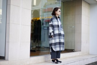 Graphpaper for women(グラフペーパーウィメンズ)Double Faced Wool CPO Shirt Dress/Gray Check