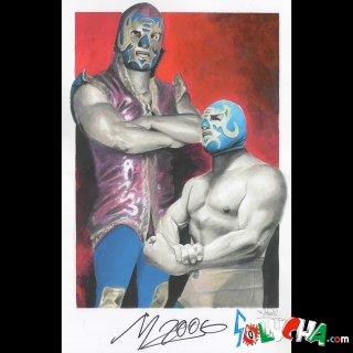 マスカラ・アニョ・ドスミル / Mascara año 2000 サイン入りアートピクチャー42X27cm