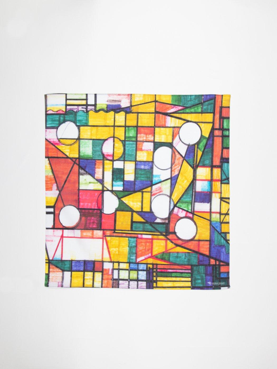 HERALBONY -ART HANDKERCHIEF-Kiyoshi Yaegashi-NO TITLE(HOUSE)-YELLOW-
