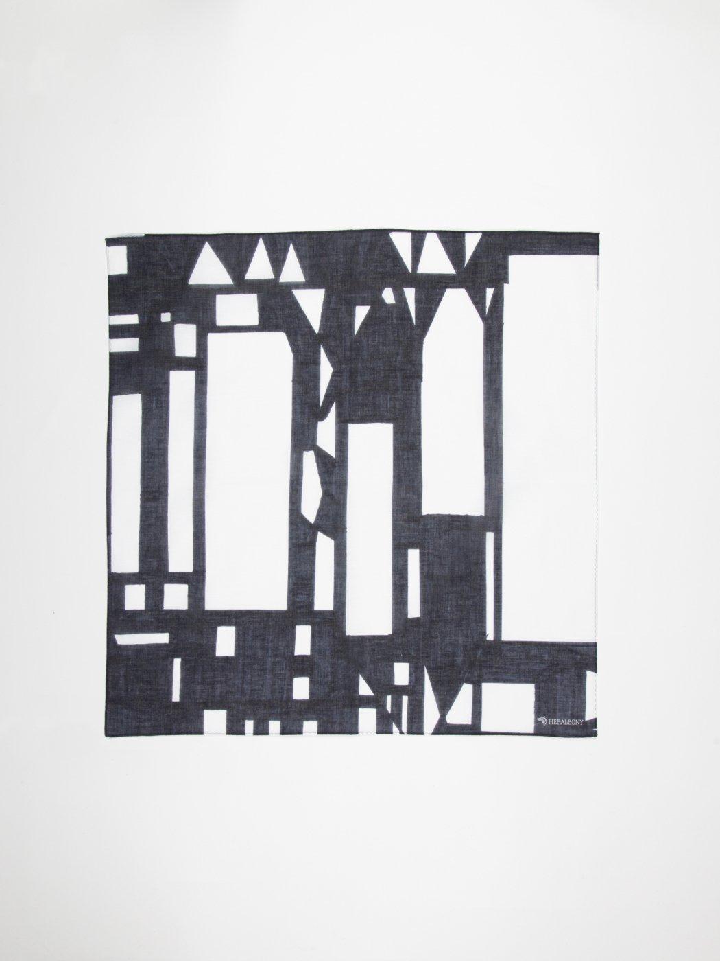 HERALBONY -ART HANDKERCHIEF-Kiyoshi Yaegashi-NO TITLE(HOUSE)-BLACK-