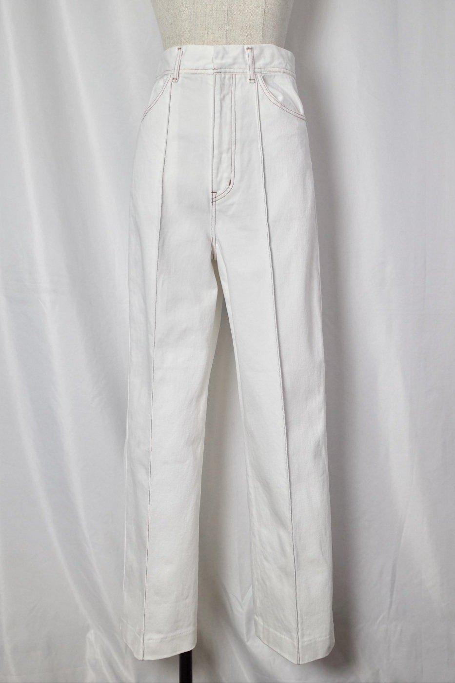 CURRENTAGE-DENIM CENTER TACK WIDE PANTS-WHITE