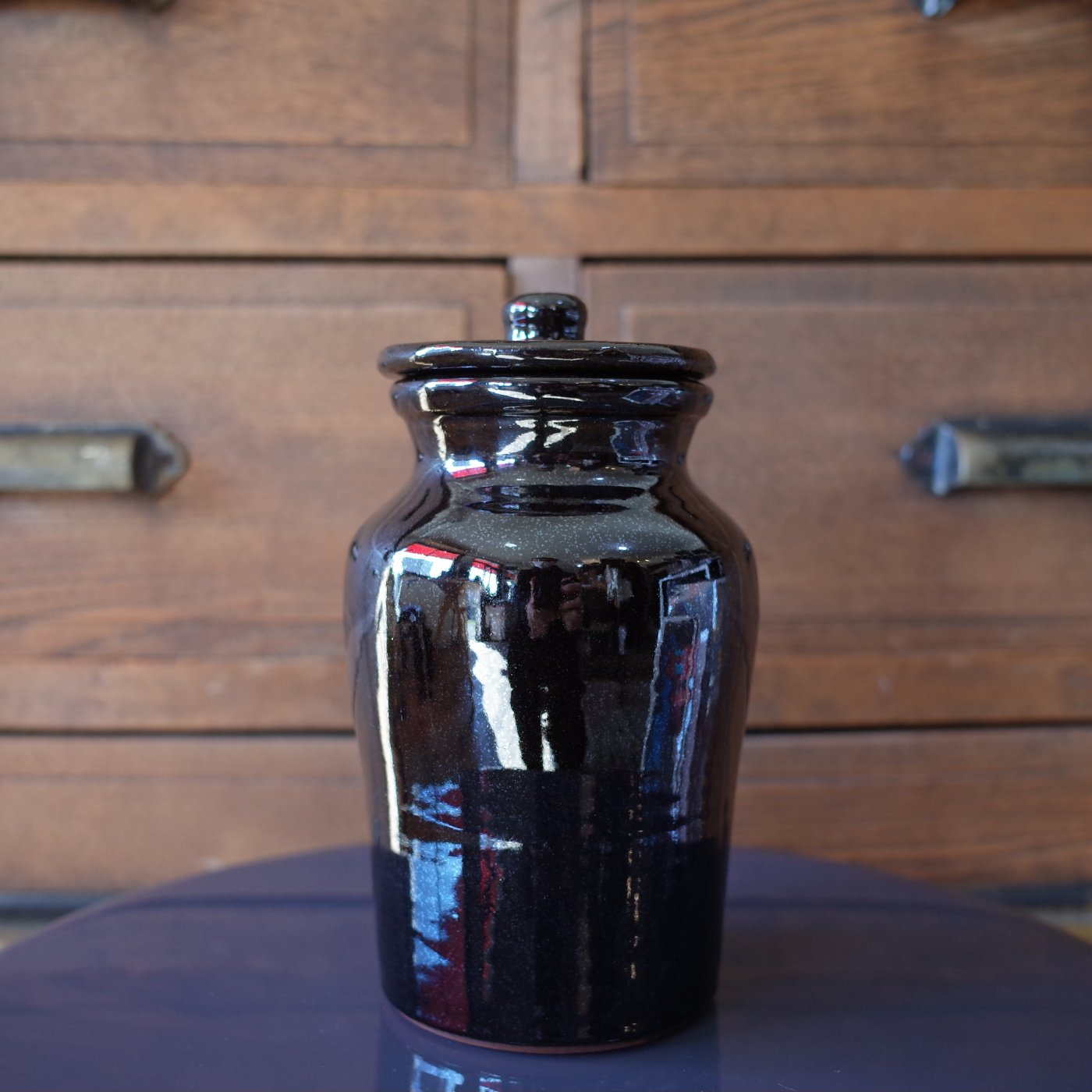 TENDER Co. テンダー-HAND THROWN NATURAL RED CLAY JAR-BLACK-