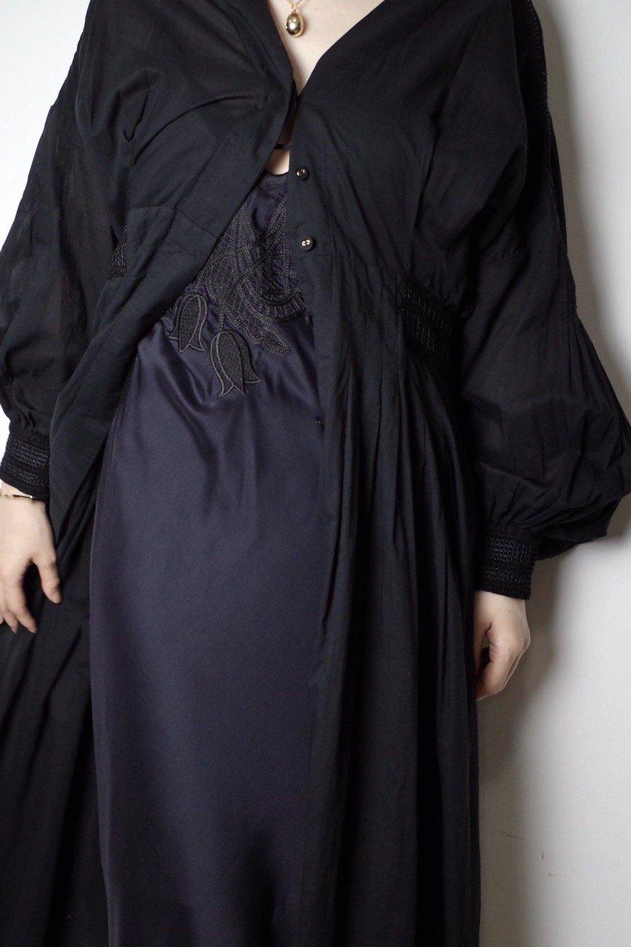 【SALE対象品】Mame Kurogouchi マメクロゴウチ-BOTANICAL DYED DRESS-BLACK-