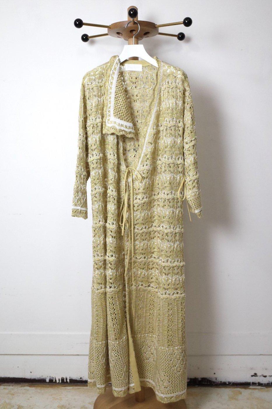 【SALE対象品】Mame Kurogouchi マメクロゴウチ-FLORAL WATERMARK WRAP FRONT KNITTED DRESS-YELLOW-