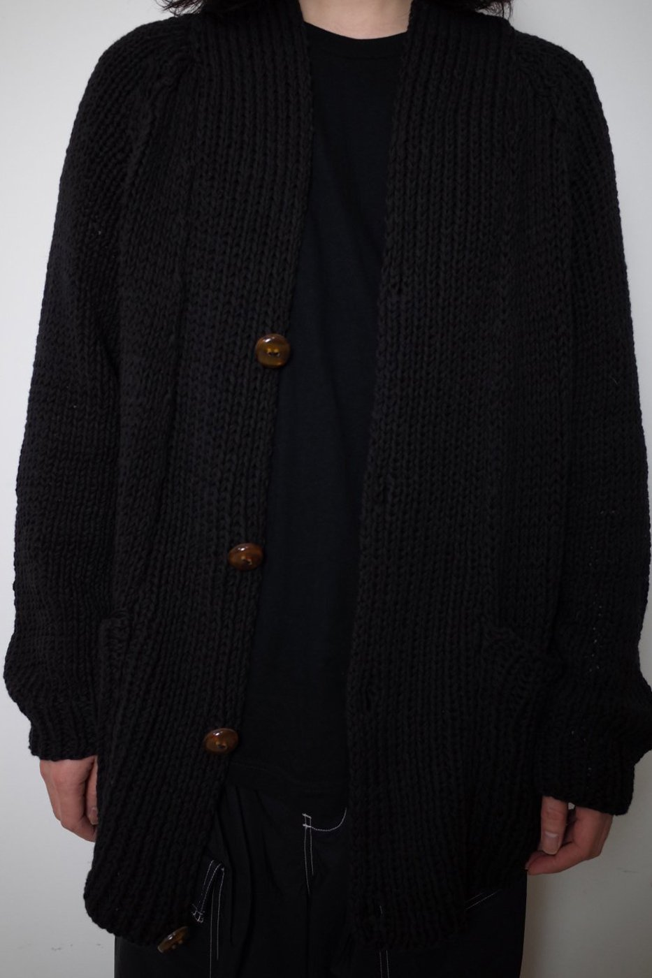 MAYDI マイディ-LONG SLEEVES CARDIGAN POCKET KNIT FRONT BUTTONS/LUI-BLACK