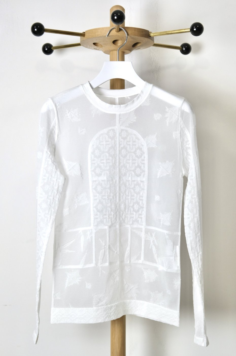 Mame Kurogouchi マメクロゴウチ-FROSTED GLASS GRAPHIC KNITTED TOP-WHITE