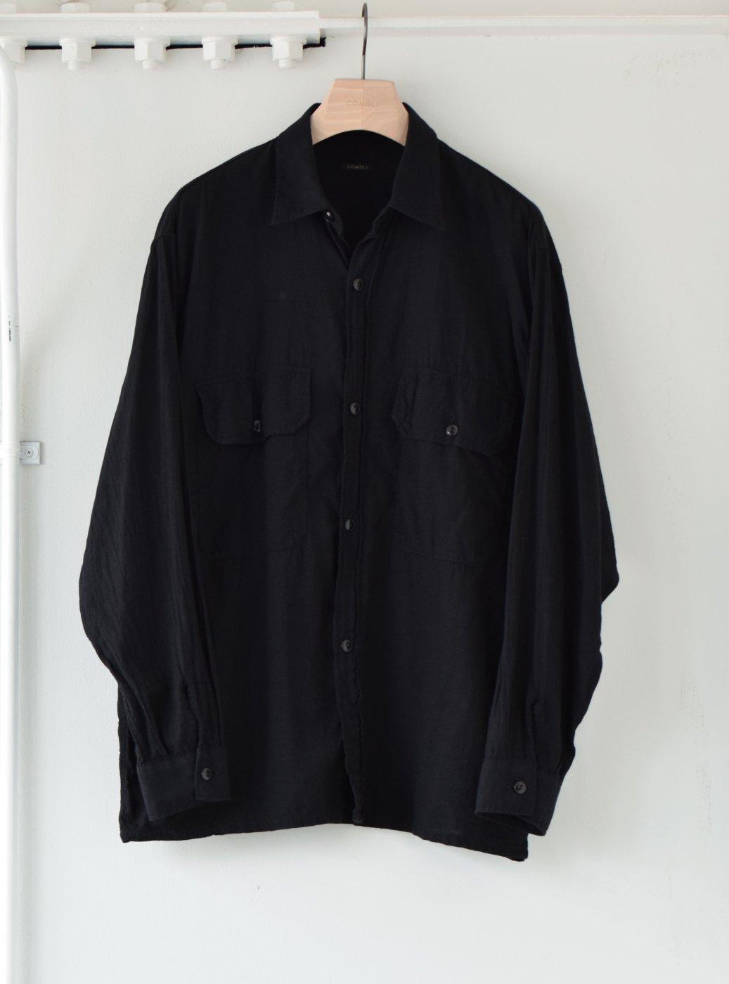 COMOLI コモリ -ベタシャン CPOシャツ/BLACK-