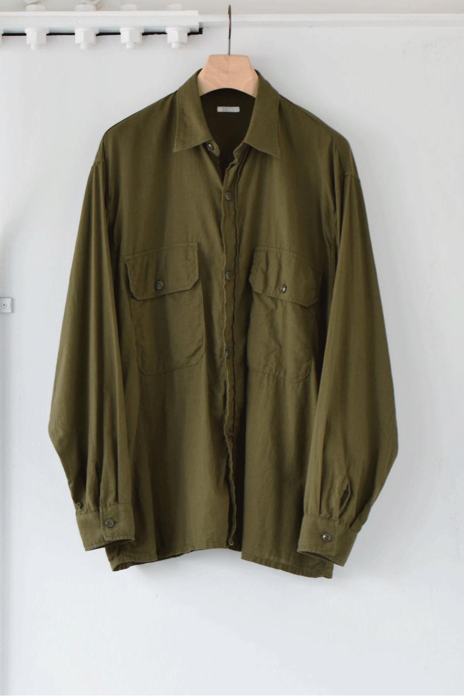 COMOLI コモリ -ベタシャン CPOシャツ/OLIVE-