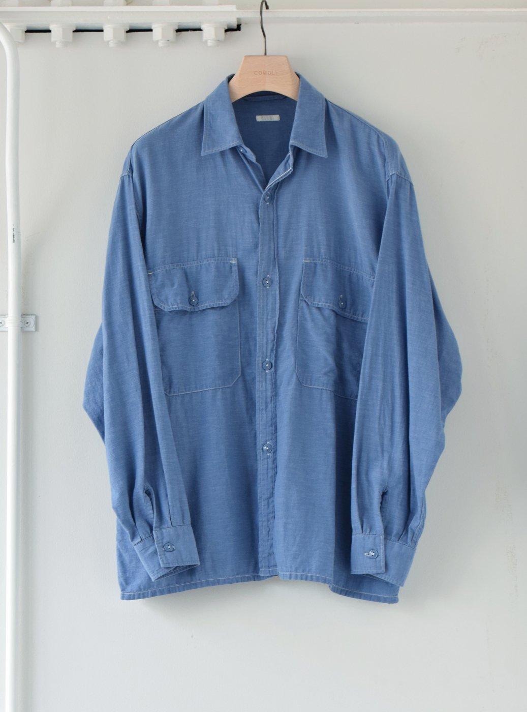 COMOLI コモリ -ベタシャン CPOシャツ/SAX-