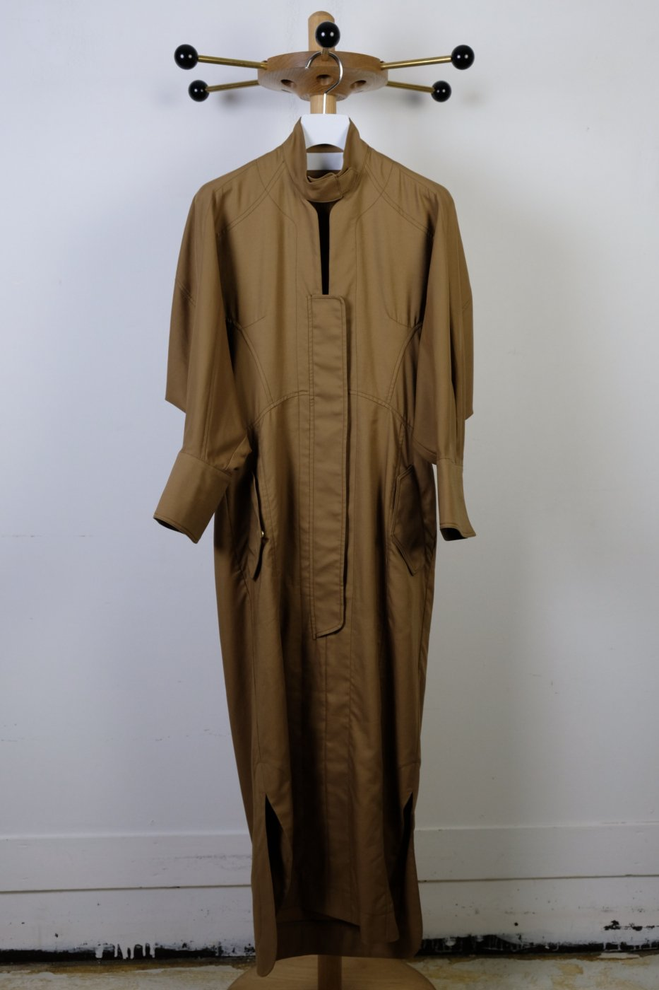 Mame Kurogouchi マメクロゴウチ-COTTON DOUBLE CLOTH DRESS-BROWN