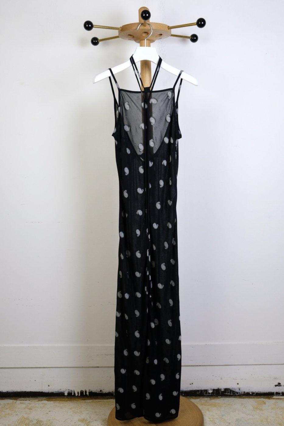 Mame Kurogouchi マメクロゴウチ- PAISLEY JACQUARD SLIP DRESS-BLACK
