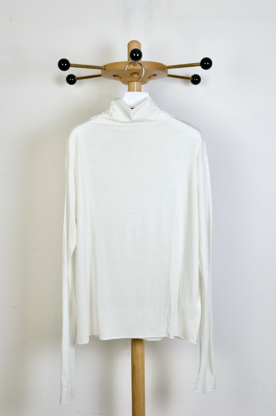 CURRENTAGE カレンテージ- NZ WOOL JERSEY TURTLENECK TOPS-WHITE