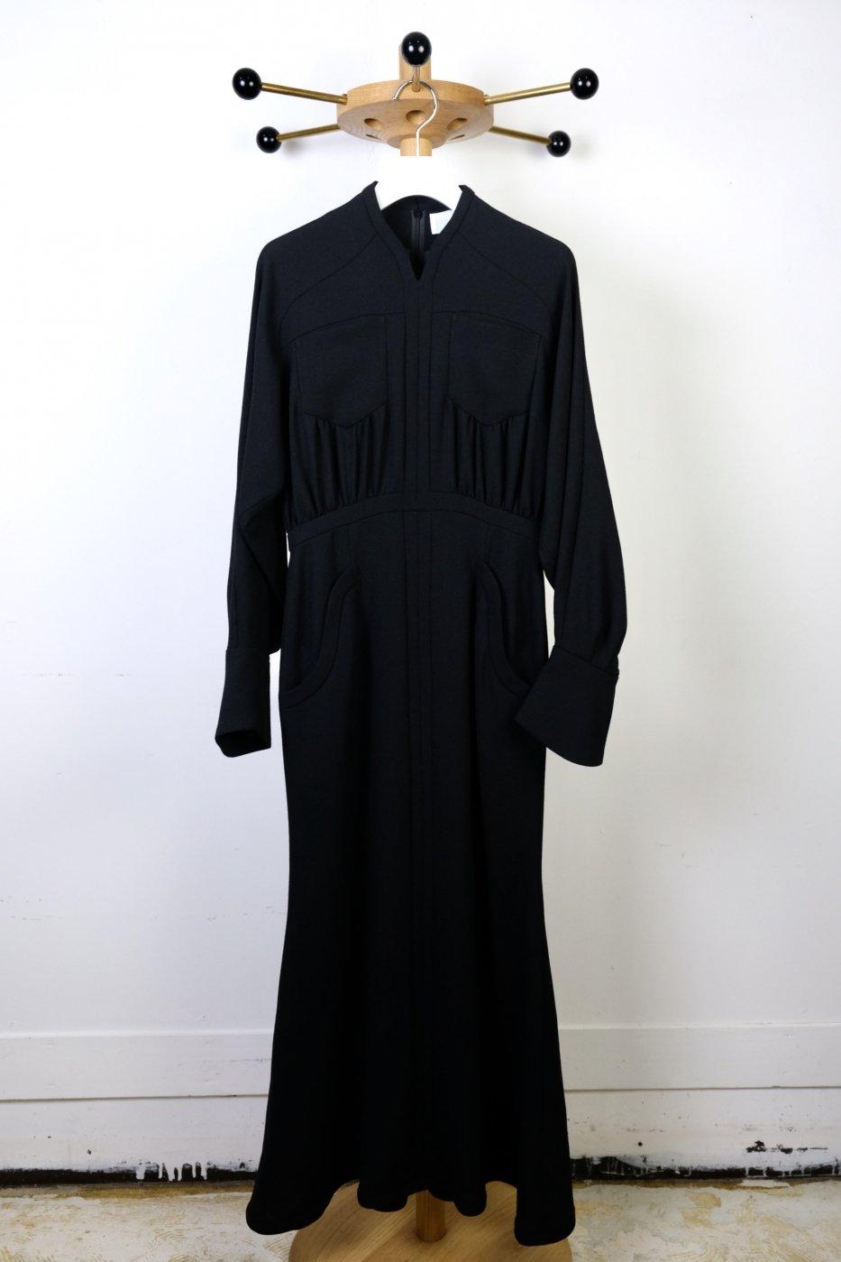 Mame Kurogouchi マメクロゴウチ-WOOL GEORGETTE FLARE DRESS-BLACK