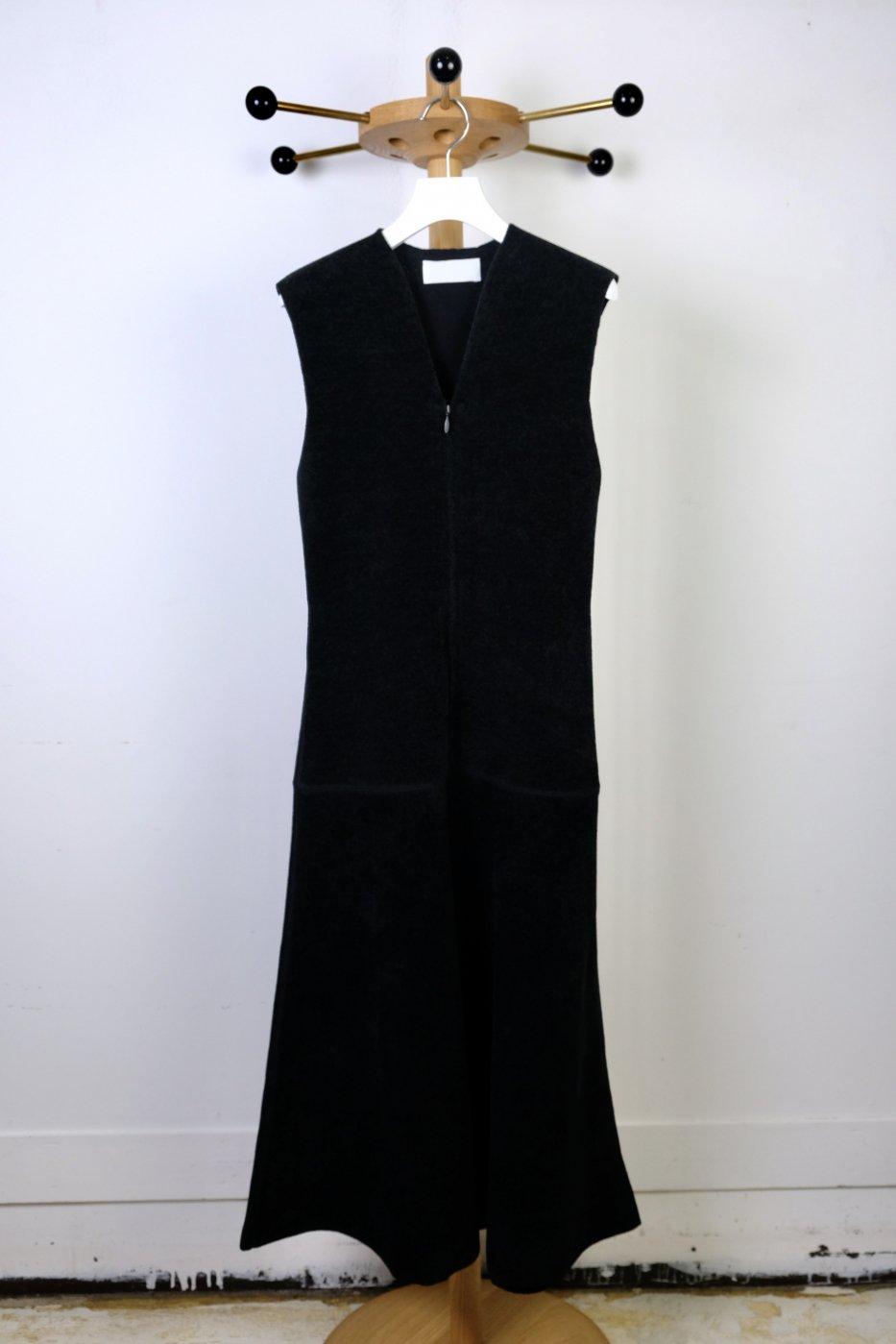 Mame Kurogouchi マメクロゴウチ-V-NECK DOUBLE FACED KNITTED DRESS-BLACK