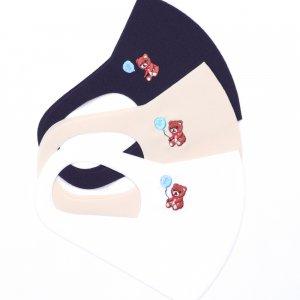 軽くてサラサラ  ここちいいマスク  刺繍入り / クマ