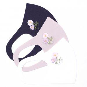 軽くてサラサラ  ここちいいマスク  刺繍入り / コスモス