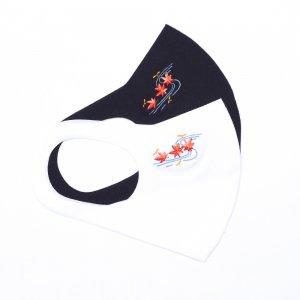 暑い夏に接触冷感  ひんやりマスク  刺繍入り / 流水紅葉