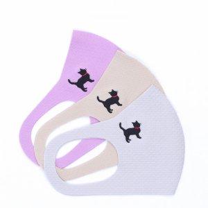 肌触りがいいニット素材  刺繍入りワッフルマスク  黒猫 / 3カラー