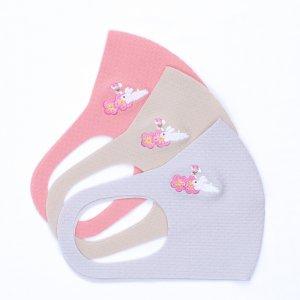 肌触りがいいニット素材  刺繍入りワッフルマスク  梅うさぎ / 3カラー