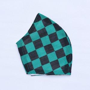 不織布マスクを通すだけ  肌に優しいマスクカバー  緑×黒 市松模様