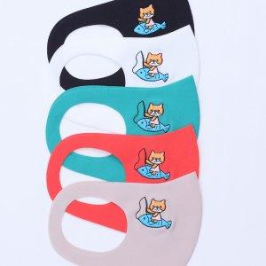 園児〜低学年向けサイズ  刺繍入りキッズマスク  魚釣り猫 / 5カラー