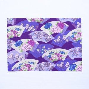 和柄ちりめん  ランチョンマット  2021春柄  紫陽花扇柄 / 紫
