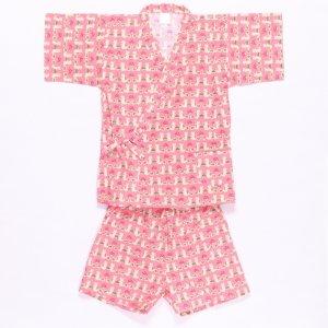 【1点限り!】子供甚平(りす)ピンク 110サイズ
