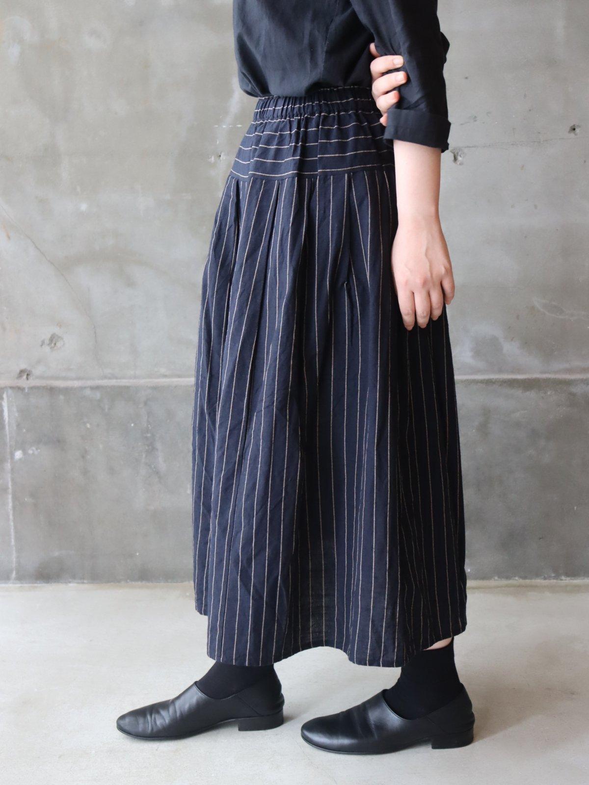 YAMMA 会津木綿タックスカート はなふさ縞